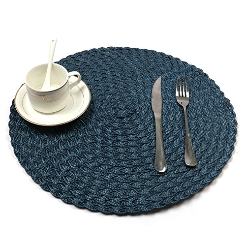 HEBE Blue Round Placemats For Dining Table Woven Braided Place Mats Heat Resistant Washable Kitchen Table Mats Set of 6 (6, Blue)