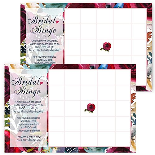 navy floral bridal shower bingo game cards pack of 25 by paper clever party