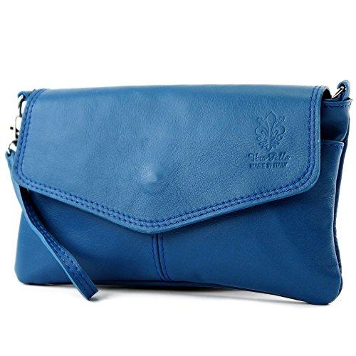 ital. Ledertasche Damentasche Citytasche Girl Umhängetasche Clutch Handgelenktasche Klein Nappaleder T47, Präzise Farbe:Blau