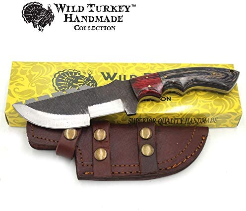 Wild Turkey Handmade Collection 10 Full Tang Fully Functional Fixed Blade Tracker Knife w Leather Sheath