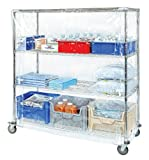 Quantum Storage Systems CC187263CVZ Wire Cart Cover with Zipper Flap, 10 Gauge Vinyl, Clear, 18'' Width x 72'' Length x 63'' Height