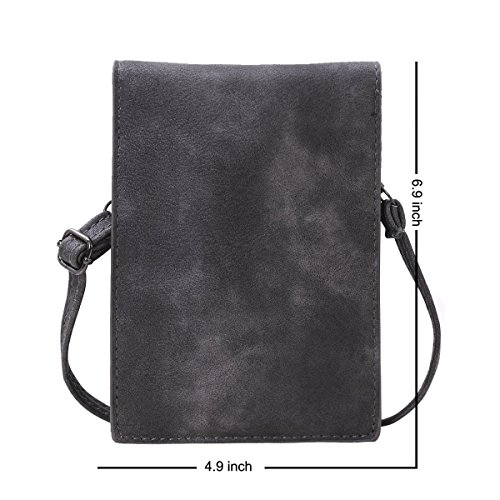 Strap Gray Bag for Bthdhk Shoulder 6'' Leather Small with Women PU Crossbody Smartphone Stylish pTzOpa6g