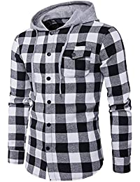 Men's Casual Long Sleeve Plaid Snap Front Hooded Shirt Jacket