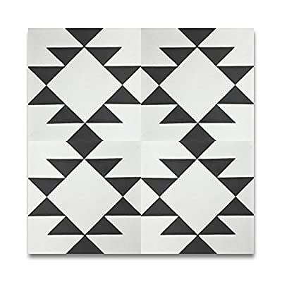 Moroccan Mosaic & Tile House CTP63-01 Rissani 8''x8'' Handmade Cement Tile in Black and White (Pack of 12)