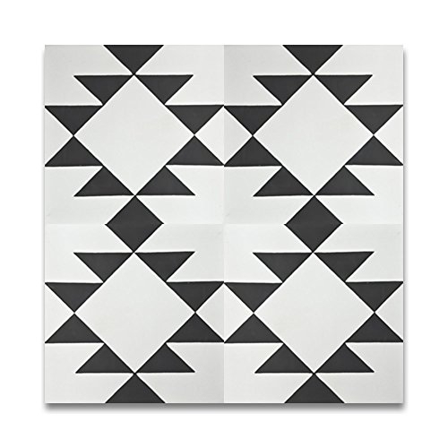 Moroccan Mosaic & Tile House CTP63-01 Rissani 8''x8'' Handmade Cement Tile in Black and White (Pack of 12) -