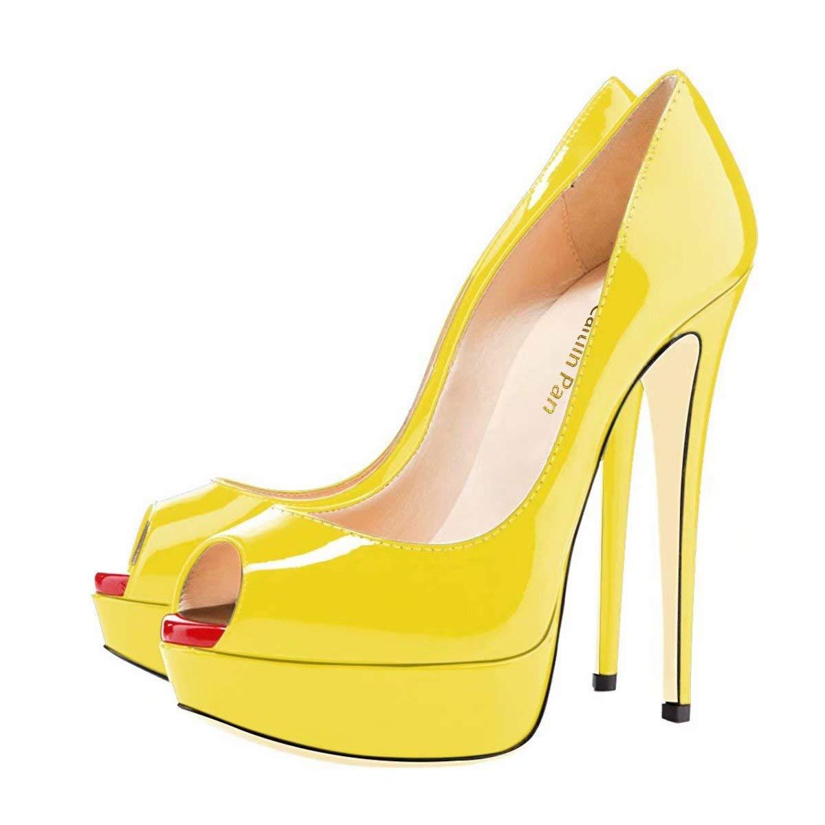 Caitlin Pan Femmes Talon Pan Escarpins Plateforme 15CM Escarpins Peep Toe 35-45 3CM Plateforme Talon Chaussures Open Toe 35-45 Bout Rouge/ Jaune 4c59d27 - deadsea.space