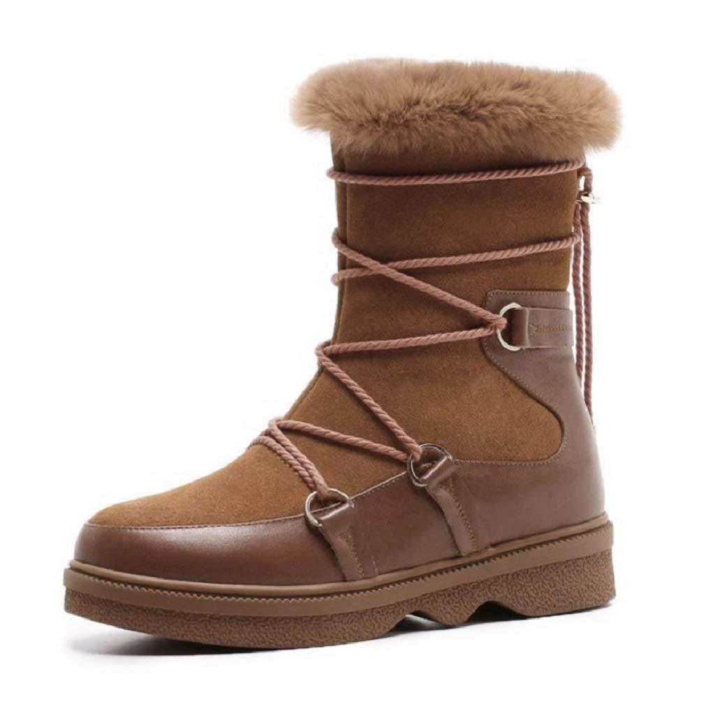 送料無料 女性レディースカーフバイカーブーツ、レースアップカジュアルブーツレザーフリース並ぶ雪冬防水ハイキング耐久性のあるショートブーツファーワンスノーブーツ B07MH87QDQ 36 B07MH87QDQ 36|褐色 褐色 36 36|褐色, アロハスタイルハワイアンShop:d81f2d68 --- a0267596.xsph.ru