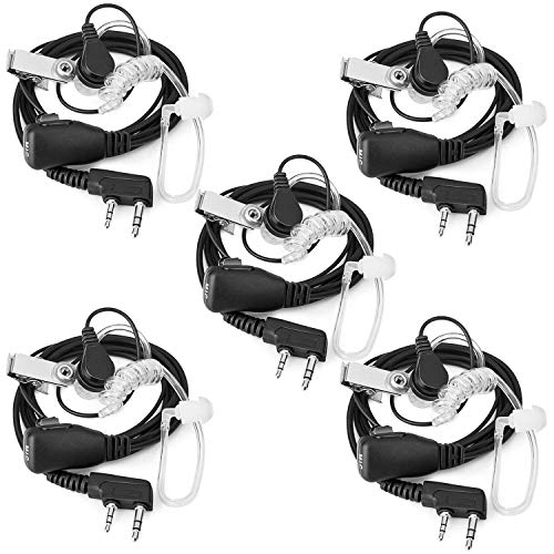 Toogoo 2-Pin Covert Acoustic Tube Waie Taie Earpiece-Two Way Radio Earpiece with a PTT Mic-Pack of 5 by Toogoo
