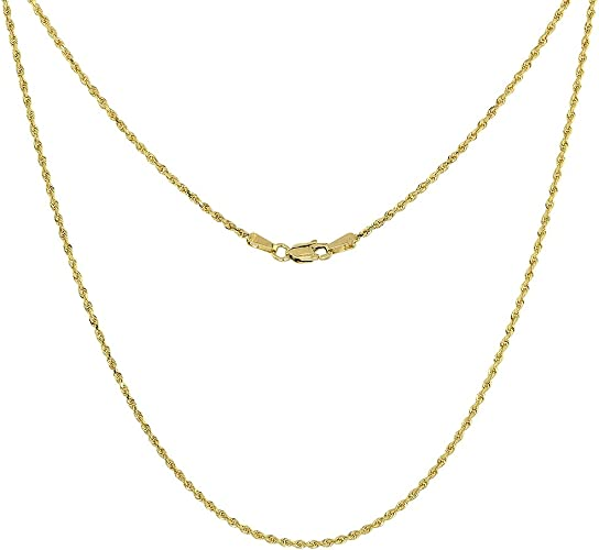 14k Gold Over Sterling Silver Italian ROPE CHAIN Diamond Cut Necklace 1.5mm