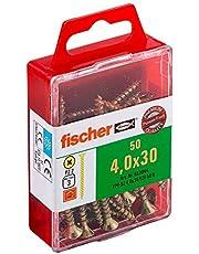 fischer Power-Fast FPF-SZ 4,0 x 30 YZF 50 B - spaanplaatschroeven met verzonken kop en volledige schroefdraad voor bevestiging van dunne componenten in houtmaterialen - 50 stuks - art.nr. 653944