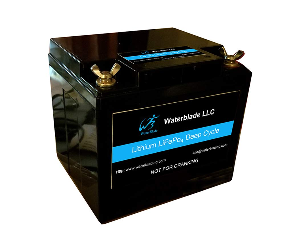 Waterblade Lithium Battery LifePo4 12V 50Ah (Includes 10A Charger)-Solar-Marine-RV-GolftCart