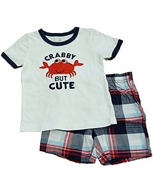 Carters Infant Boys White Crabby But Cute T-Shirt & Blue Plaid Shorts Set 24m