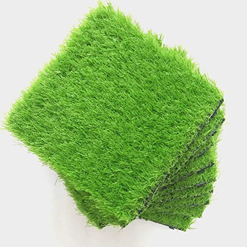 9 Pack Grass Tile Series Interlocking Artificial Grass Synthetic Grass Deck Turf Tiles Mat for Patio House Decoration Balcony Pet Play Area 1'x1'