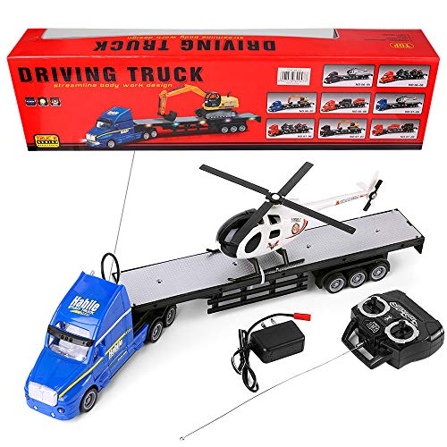 RC Truck Car 1:20 Battery Powered RC Military Transport Carrier Truck Toy with Helicopters, Big Rig Semi Long Hauler Trailer Truck with Lights and Sounds, Ideal for Boys and Girls
