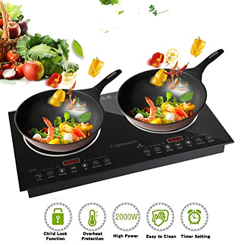 Trighteach Induction Cooktop, 2400W Double Countertop Burner(2 Separate Heating Zones) with Digital Sensor and Kids Safety Lock, 8 Temperature Levels Suitable for Cast Iron - Commercial Stove Electric