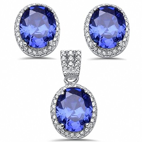 Halo Jewelry Set Oval Pendant Earring Matching Set Simulated Tanzanite & Round CZ Sterling Silver