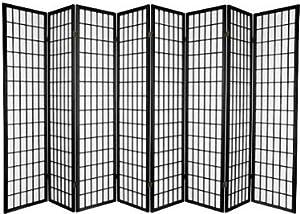 8 panel room divider screen black