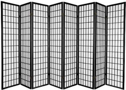 8 Panel Room Divider Screen Black