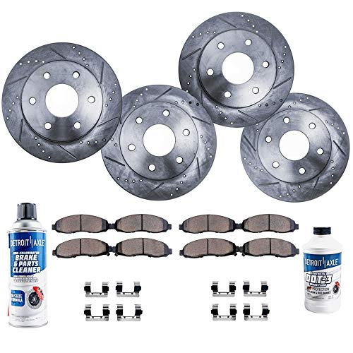 Detroit Axle - All (4) Front and Rear Drilled and Slotted Brake Rotors w/Ceramic Pads for 2008-2017 Buick Enclave - [2009-2017 Chevy Traverse] - 2007-2016 GMC Acadia - [2007-2010 Saturn Outlook]