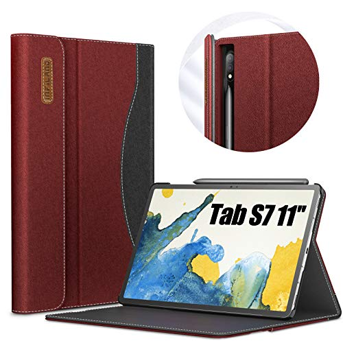 INFILAND Galaxy Tab S7 Case, Multi-Angle Business Folio Cover Built in Pocket Fit Samsung Galaxy Tab S7 11-inch SM-T870/T875/T876 2020 Release Tablet [Auto Wake/Sleep], Dark Red