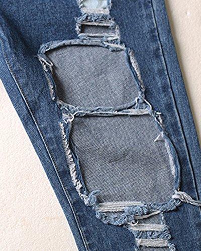 Jeans Denim Donna Lunghezza Casual Sciolto Darkblu Pantaloni EX8XaAnxq7