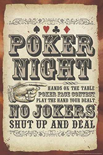 Poker Night Sign No Jokers Art Print Poster 12x18
