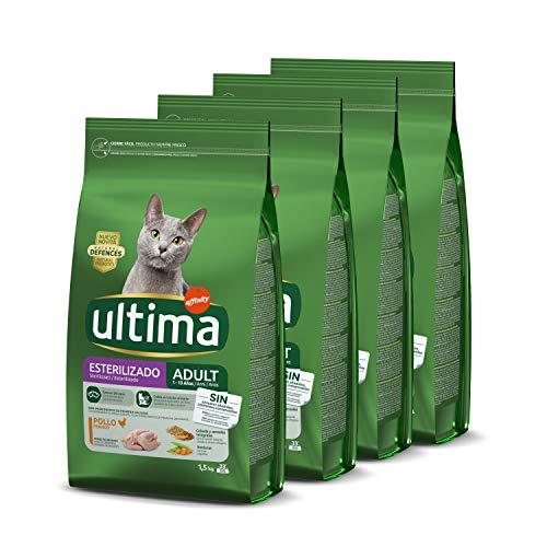 Ultima Pienso para Gatos Esterilizados Adulto con Pollo – Pack de 4 x 1,5 kg – Total: 6 kg