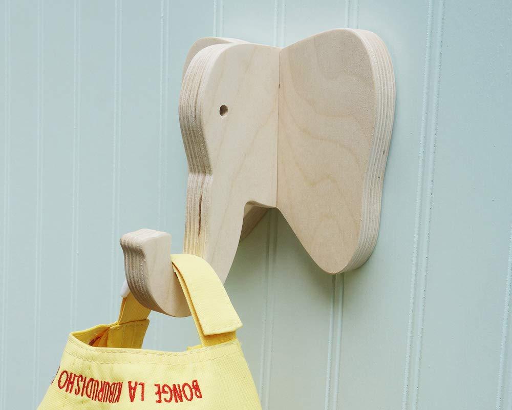 B015XAJXMM Elephant wall hook crafted from birch plywood 51yZGesk2B2BL