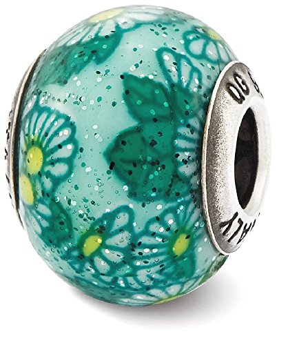 IceCarats 925 Sterling Silver Charm For Bracelet Italian Teal Floral Overlay Glass Bead Designed (Floral Italian Charm)