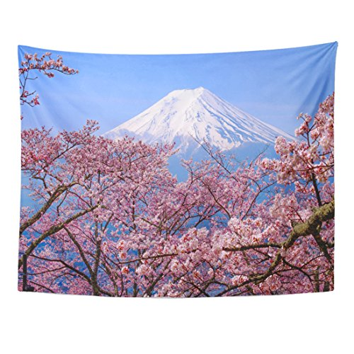 TOMPOP Tapestry Mt Fuji and Cherry Blossom in Japan Spring Season Home Decor Wall Hanging for Living Room Bedroom Dorm 60x80 Inches