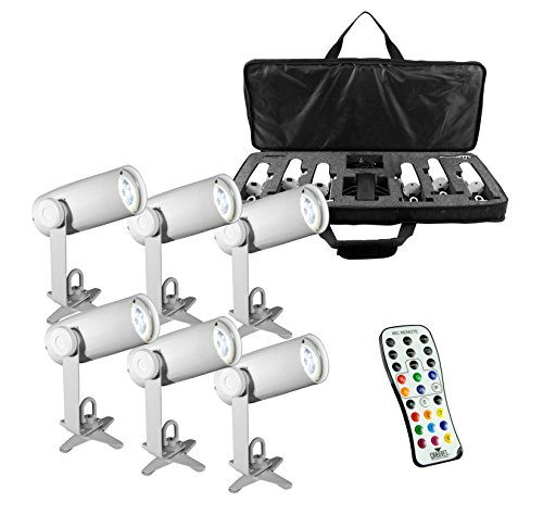 CHAUVET DJ EZpin IRC LED Pin Spot Light 6-Pack w/IRC-6 Remote & VIP Gear Bag by CHAUVET DJ