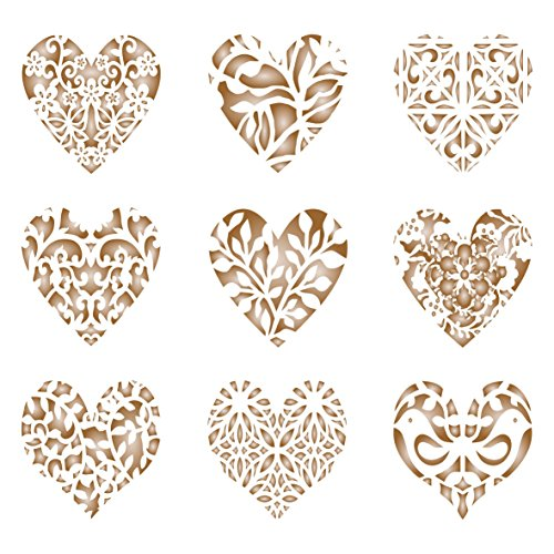 9 Heart Design - Heart Coffee Set Stencil - 9 Designs - Reusable Barista Stencils for Decorating Cappuccino Coffee Latte Cupcakes Cakes Cookies Scrapbooking Stenciling and more...
