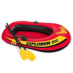 Intex Explorer 200, 2-Human being Inflatable Boat Set with French Oars and Mini Air Pump