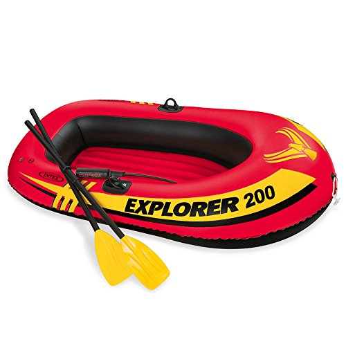 Inflatable Canoe Person 2 - Intex Explorer 200, 2-Person Inflatable Boat Set with French Oars and Mini Air Pump