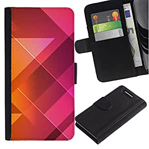 KingStore / Leather Etui en cuir / Sony Xperia Z1 Compact D5503 / Patrón Polígono Púrpura Naranja Limpio