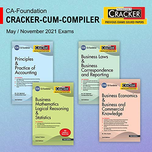 Taxmann's Combo for CA Foundation Cracker Series 2021 Exams – Paper 1 to 4 | 2021 Edition | Set of 4 Books