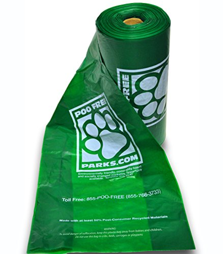 Dog Poo Breeds (PooFreeParks Dog Poop Waste Bags (1 Roll) 200 XL Large Breed Extra Thick 25 Microns)
