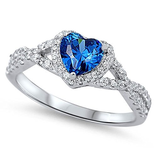 925 Sterling Silver Halo Promise Ring Heart shape Simulated Sapphire Round Clear CZ Infinity Shank Ring (Deep Blue Sapphire Diamond)