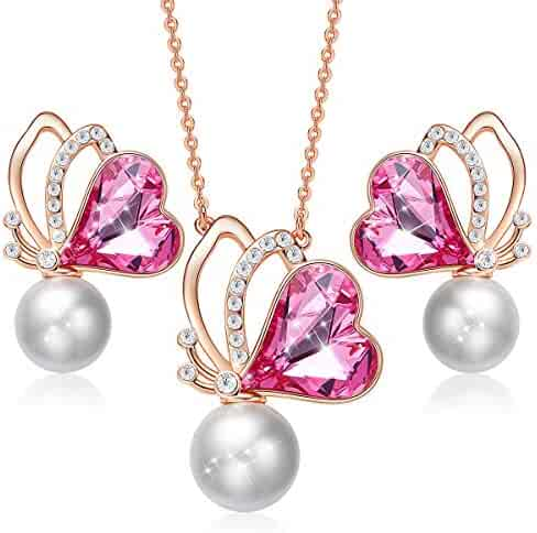 19750f56e CDE Butterfly Jewelry Set Mothers Day 18K Rose Gold Plated Pendant Necklace  Earrings Sets with Pearl