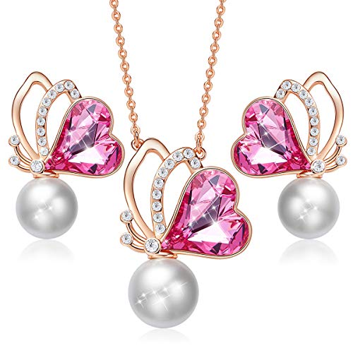 (CDE Butterfly Jewelry Set Mothers Day 18K Rose Gold Plated Pendant Necklace Earrings Sets with Pearl Embellished with Crystals from Swarovski Gift for Mom)