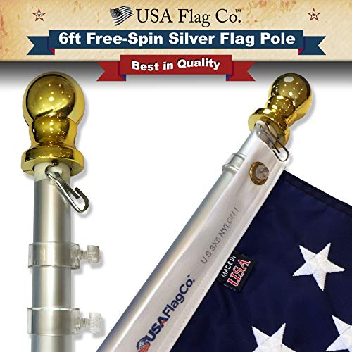 USA Flag Co. Flag Pole Free-Spin Anti-Wrap Residential or Commercial 6ft Outdoor Flagpole (Silver) ()