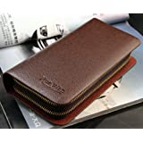 Big Mango Multi-purpose Fashion Long Business Style Small Cell Pattern Cellphone Leather Purse Bag and Big Clutch Two Zipper Wallet with Inner Multiple Card Holders and Adjustable Strap for Apple Iphone 4 4s Iphone 5 5s 5c Samsung Galaxy S4 S3 HTC Blackberry MP3 Key Photo Money Credentials (Coffee)