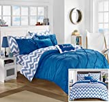 Chic Home 7 Piece Louisville Pinch Pleated and Ruffled Chevron Print Reversible Bed In a Bag Comforter Set Sheets, Twin X-Large, Blue