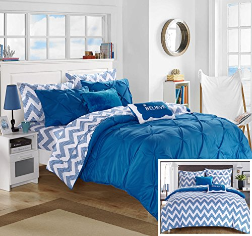 Chic Home 7 Piece Louisville Pinch Pleated and Ruffled Chevron Print Reversible Bed In a Bag Comforter Set Sheets, Twin X-Large, Blue by Chic Home