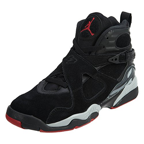 Jordan Big Kids Air 8 Retro Basketball Shoe (Jordan 8 Black Gym Red Black Wolf Grey)