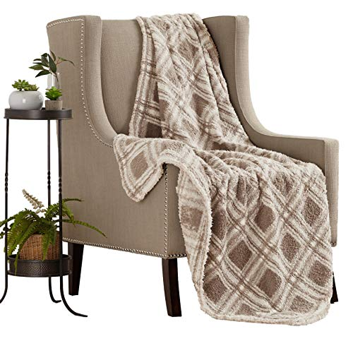 Great Bay Home Ultra Soft, Cozy Plaid Sherpa Stretch Throw Blanket. Lightweight, Elegant, Chic Decorative Blanket. (Taupe)