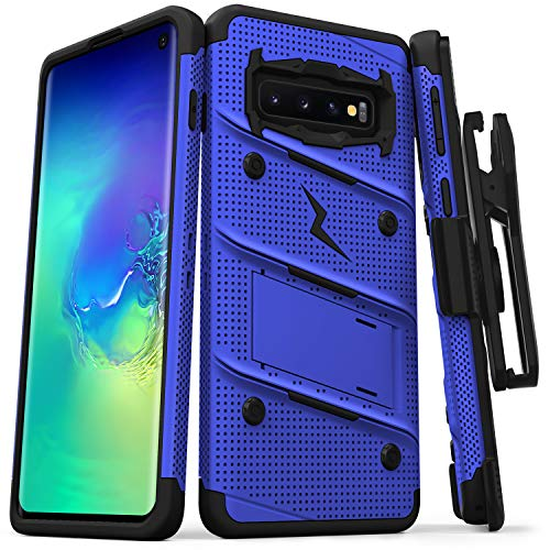 ZIZO Bolt Heavy-Duty Galaxy S10 Case | Military-Grade Drop Protection w/Kickstand Bundle Includes Belt Clip Holster + Lanyard Designed for 6.1 Samsung S 10 Blue Black