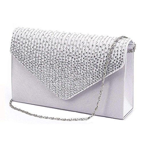 PROKTH Bag Satin Argento Bag Rhinestone Wedding Party Wedding Clutch studded Women's Evening Envelope Handbag THZwxTq6