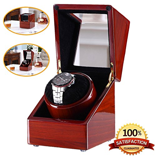 [New Style Rubber Wood] Love Nest wood Single Automatic Watch Winder Box Piano Finish Pure Handmade Watch Winder Box with High Quality Automatic Japanese Mabuchi Motor(power included)