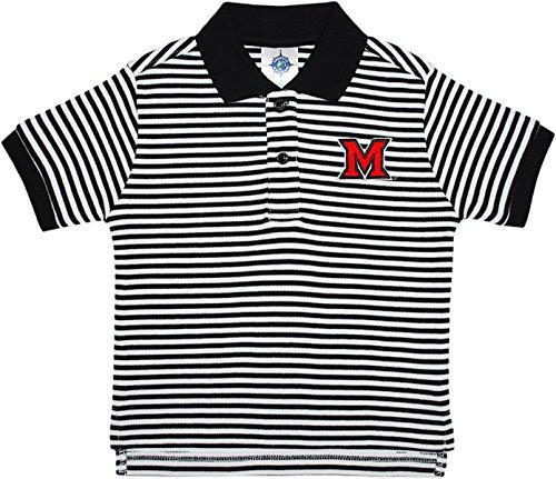 (Creative Knitwear Miami University Redhawks Striped Polo Shirt Black/White)